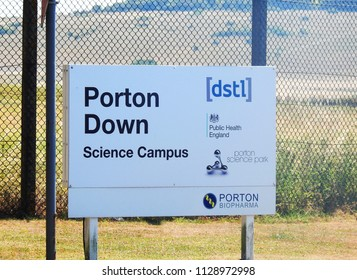 Porton, Near Salisbury, UK. July 7 2018. The entrance to Porton Down the Defence Science and Technology Laboratory where it was confirmed Dawn Sturgess and Charlie Rowley had been poisoned by Novichok