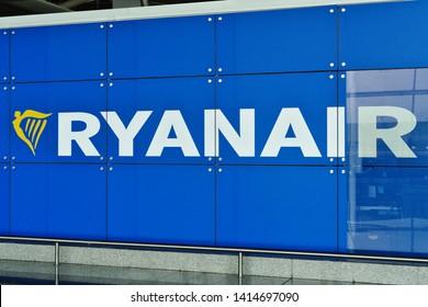 Porto/Portugal - 02.06.2019: Ryanair logo on blue background on Porto Airport