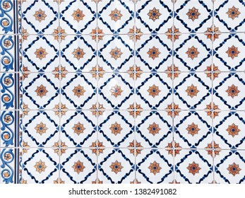 Porto/Portugal - 10 june 2017:Portuguese painted tin-glazed ceramic tilework. Azulejo tiles wall.