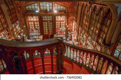 Porto,Portugal - May 7, 2014 : Libreria Lello and Irmao, the second oldest library in Portugal famous for the Harry Potter film. interior view, Staircase