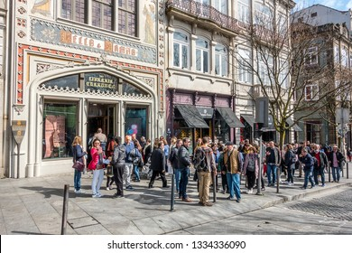 Porto,Portugal on 1st Mar 2019:Livraria Lello has been a bookshop since 1906. It is a tourist location due to the alleged writing of a Harry Potter book by JK Rowling, people que to pay for a visit