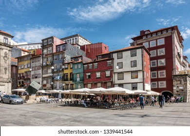 Porto,Portugal on 26th Feb 2019: Riberia Square is the central meeting location for tourists in the city of Porto. It is on the embankment of the Douro river in the Riberia district overlooking Gaia