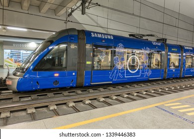 Porto,Portugal on 26th Feb 2019: Porto airport metro has a station on the Metro do Porto light-rail system. You can reach most of the city centre in about 30 minutes with all connections via Trindada