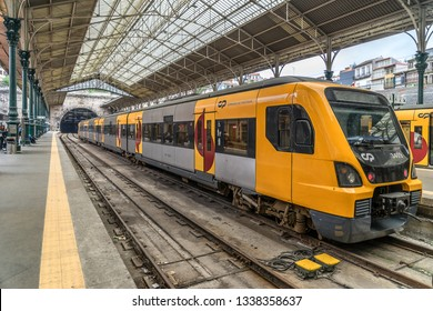 Porto,Portugal on 27th Feb 2019: The Sao Bento Railway Station is is the main terminus of Porto's suburban railways lines.The station is connected to Sao Bento Metro Station line D