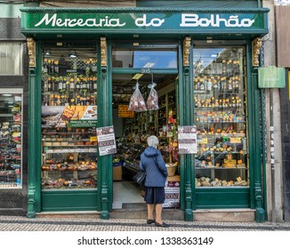 Porto,Portugal on 27th Feb 2019:Mercearia do Bolhao is a grocery store very close to Bolhao Marketplace. The building is painted in a traditional Portuguese style and sells a wide range of groceries