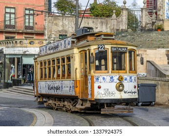 Porto,Portugal on 27th Feb 2019:The tram system of Porto is operated by STCP. All the trams are heritage tram cars with only three regular routes but should not be confused with the Porto Metro system
