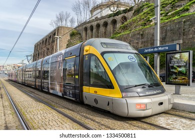 Porto,Portugal on 28th Feb 2019:Porto's Metro has 6 lines and 81 stations, Out of all the stops, the most important is Trinidade. It is where all the lines meet, including the yellow line.