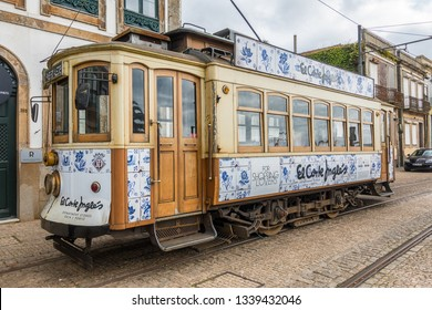 Porto,Portugal on Mar 2nd 2019:The tram system of Porto is operated by STCP.  All the trams are heritage tram cars with only three regular routes but should not be confused with the Porto Metro system