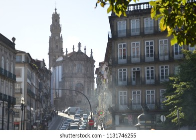 Porto/Portugal_OCT 18 2017: The Clérigos Church is a Baroque church. Its tall bell tower, the Torre dos Clérigos, can be seen from various points of the city & one of its most characteristic symbols.