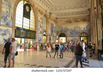 Porto/Portugal_OCT 18 2017: Sao Bento railway station is one of the world's most beautiful train stations. The station decorated with Portuguese tiles which depict historical life scenes.