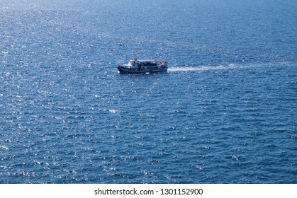 PORTOROZ, SLOVENIA - JUNE 26: Typical touring boat on Adriatic sea in Portoroz, Slovenia, on June 26, 2015.