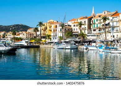 PORTO-VECCHIO, FRANCE - SEPTEMBER 21, 2018: A view over the beautiful port of Porto-Vecchio, in Corsica, France