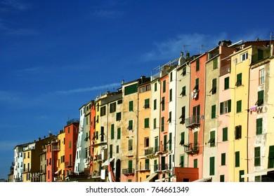 Portovenere: glimpse of colorful buildings