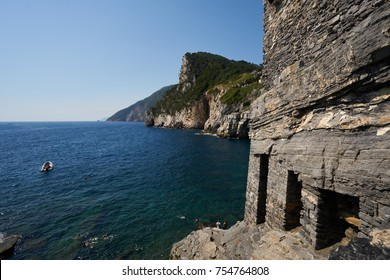 Portovenere, Italy - July 9, 2016: View of Saint Peter Church to Grotta di Lord Byron Cave