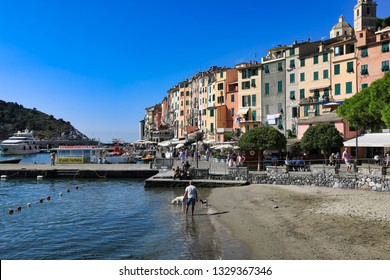 PORTOVENERE, ITALY/EUROPE - SEPTEMBER 4 2018:  Portovenere (Porto Venere), Italy is located on the Ligurian coast and is the gateway to the popular Cinque Terre region, a popular vacation destination