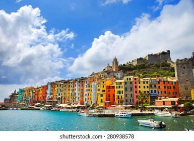Portovenere old village on the sea. Church and houses. Five lands, Cinque Terre, Liguria Italy Europe.