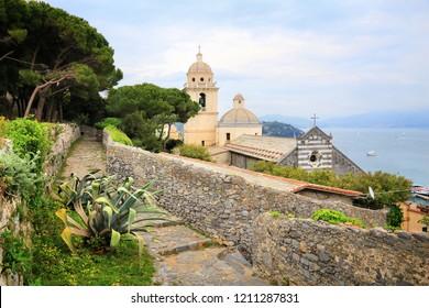 Portovenere town, UNESCO World Heritage Site in Italy. White Madonna Sanctuary church (Santuario della Madonna Bianca).