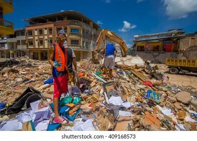 Portoviejo, Ecuador - April, 18, 2016: Rescue team making recovery efforts after 7.8 earthquake