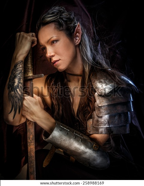 Portrai Mystic Elf Woman Sword Armor Stock Photo Edit Now 258988169