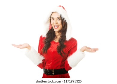 Portraif of santa woman standing with open hands gesture.
