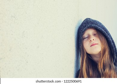 Portrait of 12 years old teenage girl outdoor