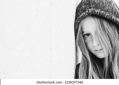 Portrait of 12 years old teenage girl outdoor