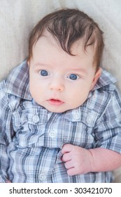 Portrait of a 2 months old baby boy at home.