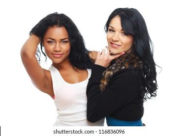 Portrait of 2 sexy girls posing in studio