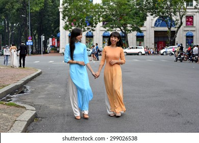 portrait of 2 Vietnamese girl wearing  Ao dai (Vietnam nation dress)