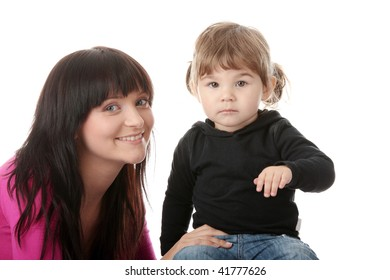 Portrait of a 2 year old girl with her mum isolated on white background