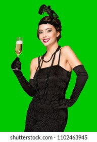 Portrait of 20s style festive beauty with glass of champagne.