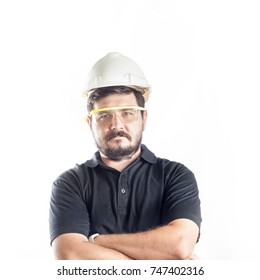 Portrait of 30 years old caucasian man Engineer with Construction helmet and eye protect glasses. Safety first concept.