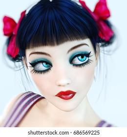 Portrait 3D girl doll big blue eyes and bright makeup. Bow dark hair. Romantic woman. Conceptual fashion art. Photorealistic render illustration.