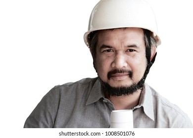 portrait of 40s engineer with beard wearing white helmet and hold blueprint.He looks confident,high experience or high flyer or  professional.Blue collar concept.Isolated on white with clipping path.