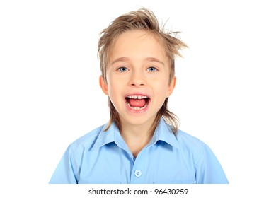 Portrait of a 8 year boy. Isolated over white background.