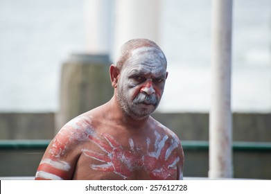 Portrait of Aboriginal man in Sydney, AU, 15th February, 2015. Aboriginal dancer performs at Darling Harbour in Sydney, Australia.