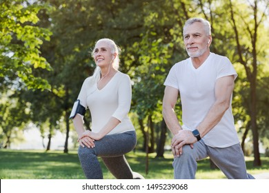 Portrait of active senior couple doing warm up exercises while standing in park outdoors