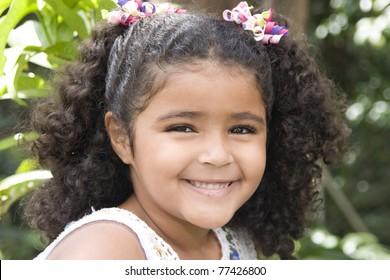 Portrait of Addorable Happy Beautiful Little Girl