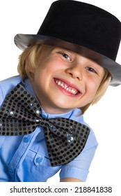 Portrait of adorable child dressed-up in top hat and bow tie