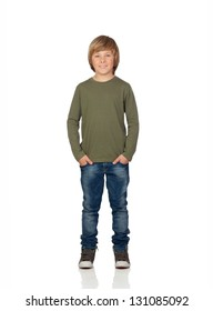 Portrait of adorable child standing isolated on a over white background