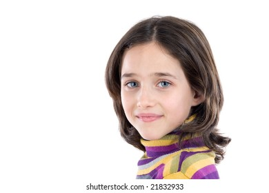 Portrait of adorable girl on a over white background