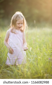 Portrait of adorable girl on a summer meadow. Sunset in the park. Outdoors. Vacations. Child walking and sings on a sunny summer day with a flower in his hand