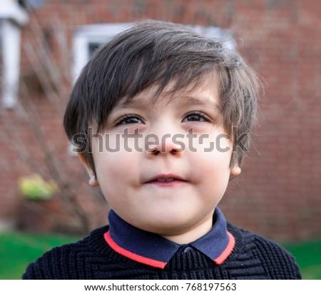 Portrait Adorable Little Boy Standing Outside Stock Photo Edit Now