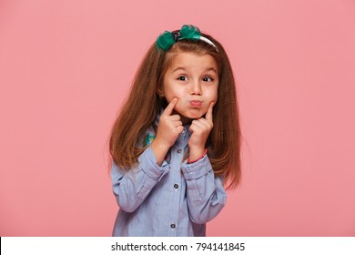 Portrait of adorable little girl 5-6 years with beautiful long a