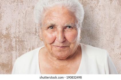 portrait of an adorable old woman face closeup