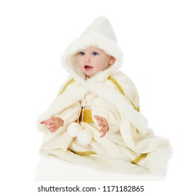 """Portrait of an adorable sitting baby """"snow Princes"""" isolated on white."""