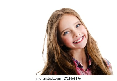 Portrait of adorable smiling little girl child preteen isolated on a white background