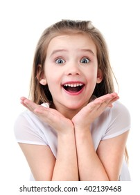 Portrait of adorable surprised little girl isolated on a white