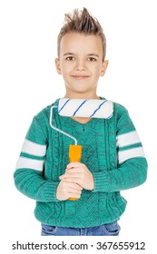 Portrait adorable young happy boy holding a paint roller on white studio background.