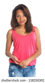 Portrait of an adorable young mulatto girl. Isolated white backround